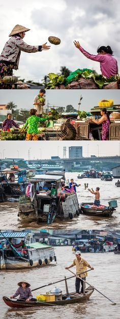 Can Tho, Vietnam - Great moments of the daily lives on Can Tho's floating market.