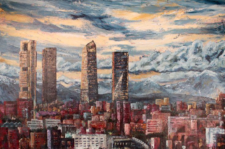 Trabajo en acrílico y espátula interpretado - Horizonte en Madrid. Work in acrylic and spatule interpreted - Madrid Skyline. HMZEN'15