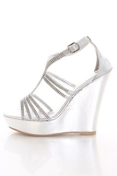 b01217f5afde Silver Wedge Prom Shoes