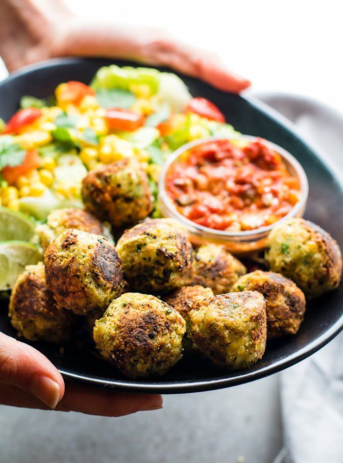 Mexican Vegan Falafel Bites that are healthy and easy to make! A quick vegan falafel recipe that's packed full of flavor and gluten free.