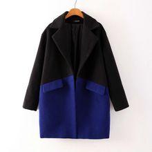 Женщины зима кардиган большой лацкане мода сине-черные попал в цвет темно-кнопка шерстяное пальто женщины топы XY2273