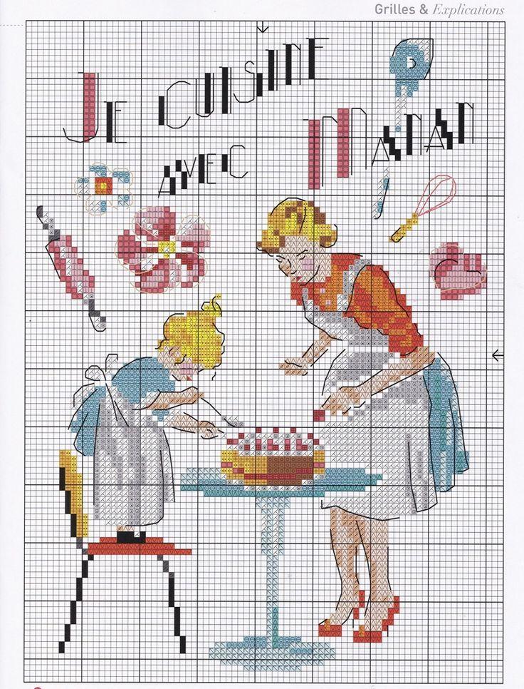 point de croix mere et fille faisant un gateau- cross stitch mother and daughter cooking a cake