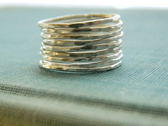 Set of 4 skinny stackable rings slim silver band by designbygam, $35.00