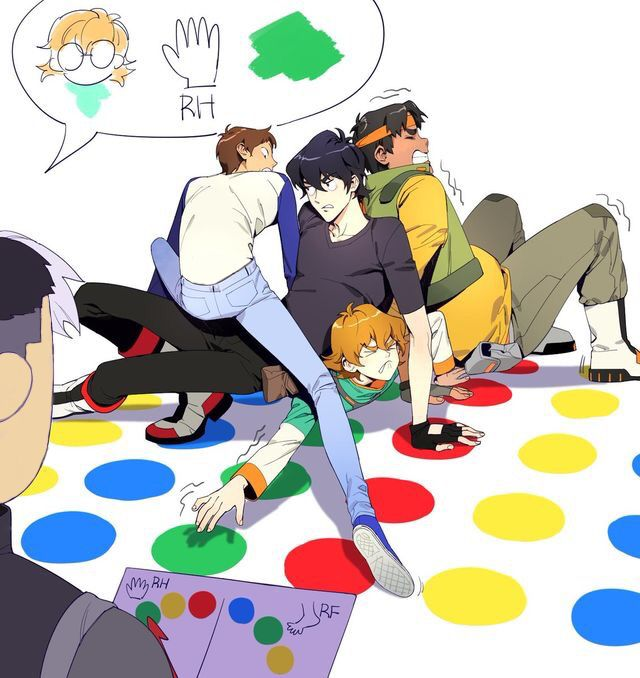 The Voltron team doing twister