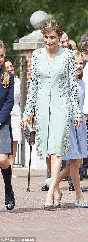 Queen Letizia arrives at the parish church Our Lady of Assumption