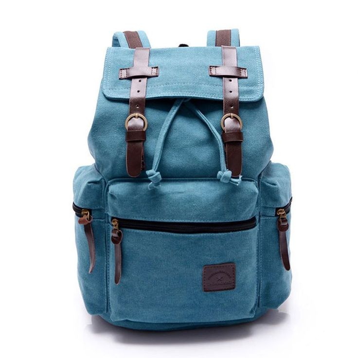 Retro Navy Blue Belt Decoration Canvas Backpack - lilyby