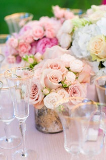 Bridal Pink - pink wedding; roses table decor