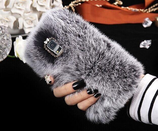 Rhinestone Bling Fur Rabbit Hair Warm Winter Phone Case For Samsung Galaxy S5 S6 S6 Edge Plus Fluffy Cover