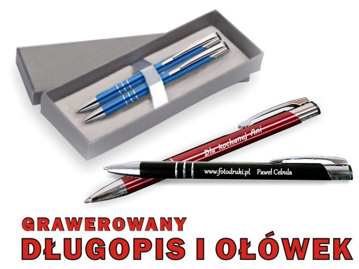 Elegancki zestaw - grawerowany długopis i ołówek w etui