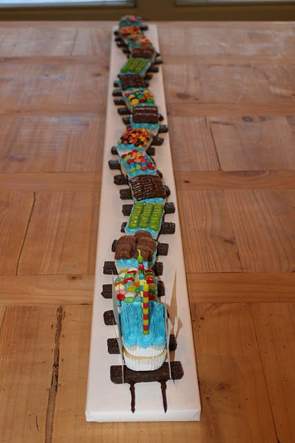 No need to scratch your head over train birthday party ideas when it comes to the cake. You can easily make your train party memorable with this fun train cake.