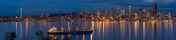 Seattle night cityscape reflection