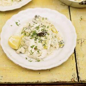 Heerlijk recept van Jamie Oliver, kip met prei in witte wijn saus