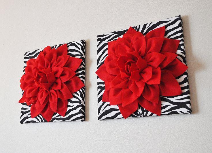 Zebra Print And Red Flowers, Zebra Art, Zebra Decor, Zebra Wall Decal, Zebra  Wall Art, Zebra Decorations, Zebra Wall Decor, Zebra Nursery