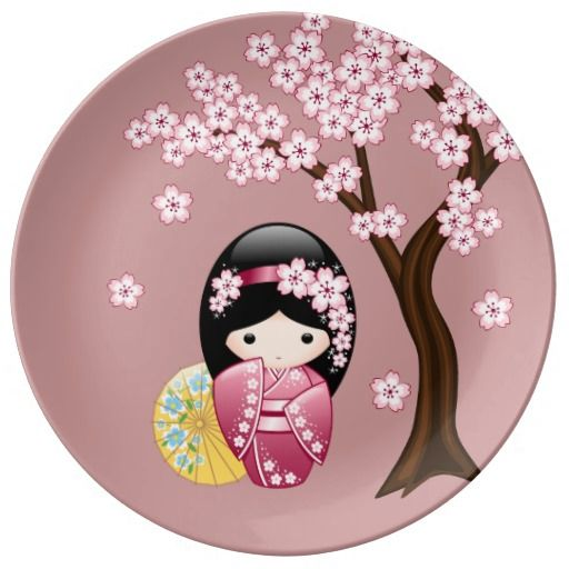 Spring Kokeshi Doll Plate #cute #kawaii #kokeshi