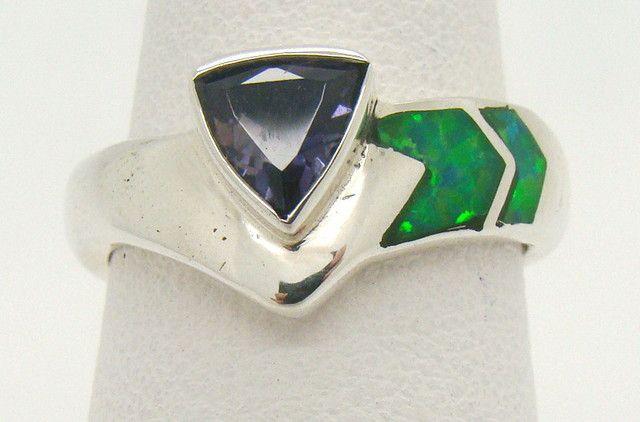 Sterling Silver Lab Opal Ring Size 6 1/4 (JA-331)