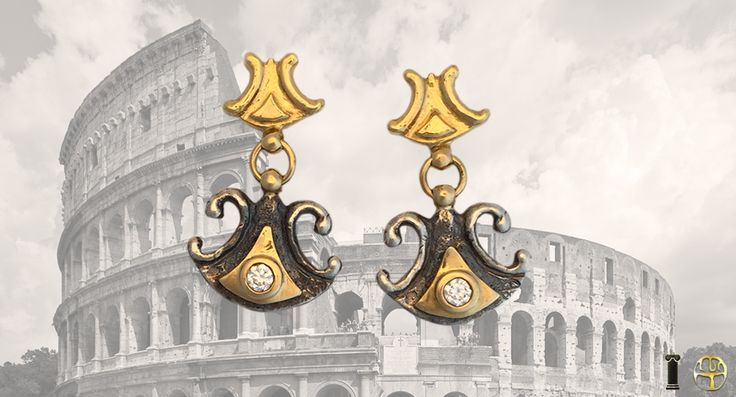 Boucles d'oreilles en or jaune argent vieillit et diamants. Collection antique de Luc Taillandier http://www.luc-t.com