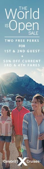 The World Is Open Sale is going on right now with Celebrity Cruises! Receive 2 free perks for 1st and 2nd guest PLUS 50% off current rate for 3rd and 4th guests!