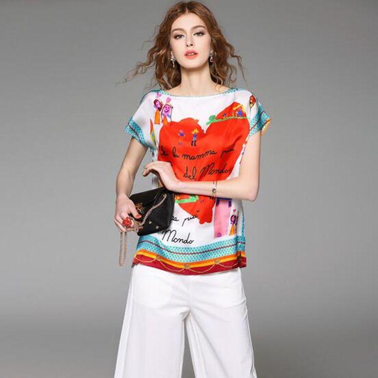 Купить товар2016 женщин весна лето взлетно посадочной полосы модельер рубашки верхней элегантный цветочные принты шелковая блузка случайные короткие топ D6269 в категории Блузки и рубашкина AliExpress.    размер детали рубаш