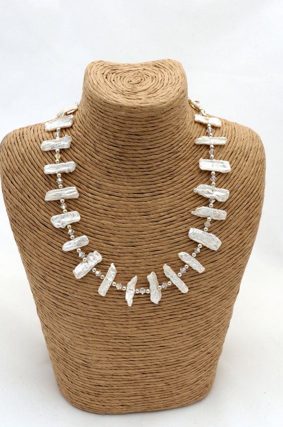 Pearl Necklace  Mother of Pearl Necklace by Makewithlovecrafts, £29.99