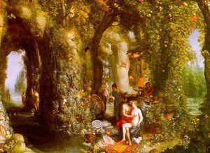 A Fantastic Cave Landscape with Odysseus & Calypso (painted with Hendrick de Clerck)  Jan The Elder Brueghel