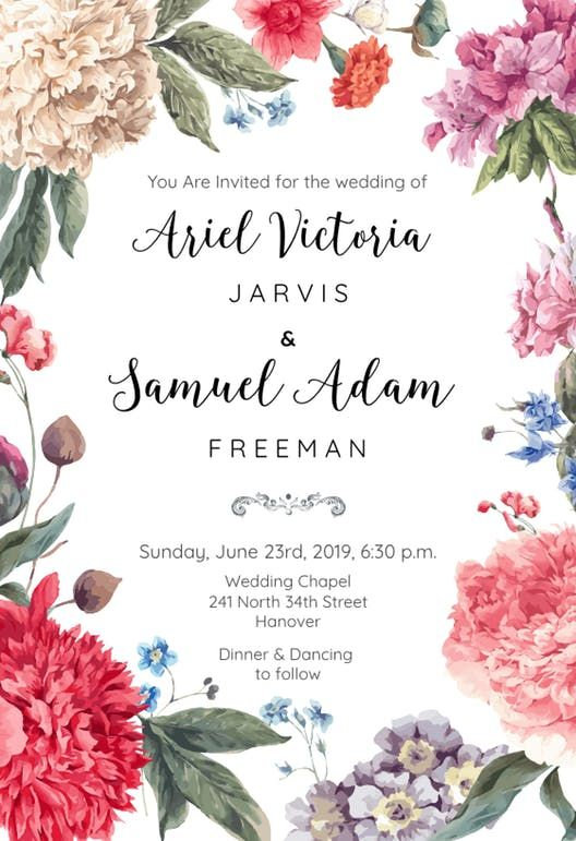 Garden Glory - Free Wedding Invitation Template | Greetings Island
