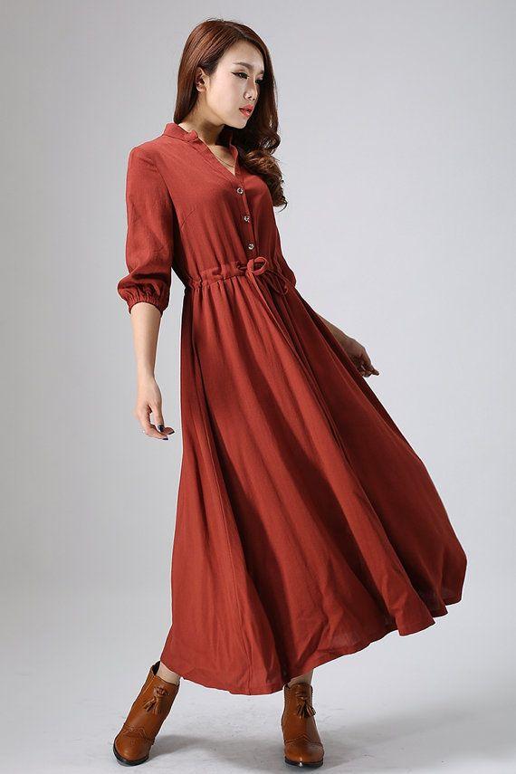 Rust red dress linen dress Casual dressmaxi dress by xiaolizi