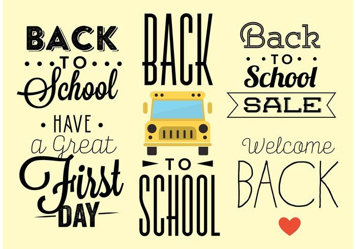 Free vector Back to School Typography Vectors #19172