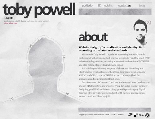 Toby Powell - About Me Page Design