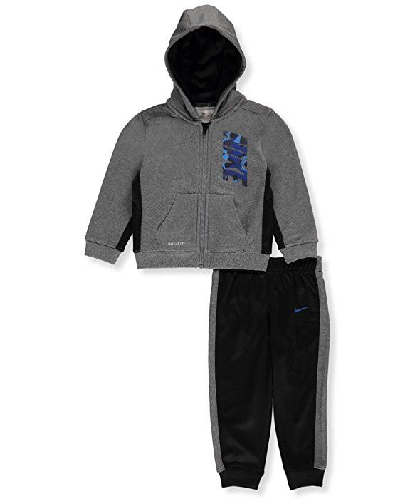 57407ddd1eb65 Amazon.com: Nike Baby Boys' 2-Piece Therma Dri-Fit Sweatsuit - black ...