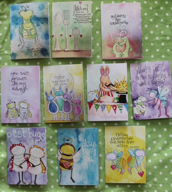 Full set of ten cards printed from by LilyandGingerCandles on Etsy