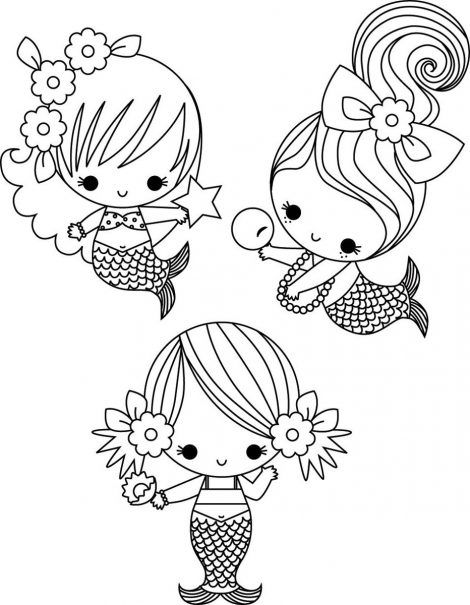 cute mermaid coloring pages Mermaid coloring pages, Cute
