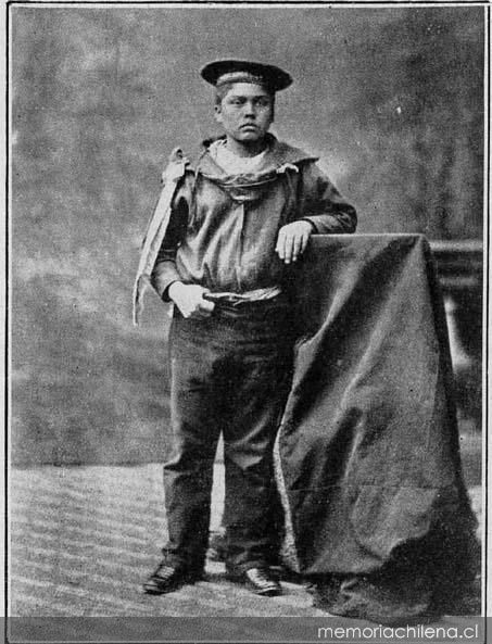 "Grumete Juan Bravo, francotirador de La Covadonga.1879. Grummet Juan Bravo, born in Arauco, son of mapuche parents, went to fight for Chile . He was the sniper at the ""Covadonga"", shooting the peruvian gunners of the ""Independencia"". May 21, 1879"