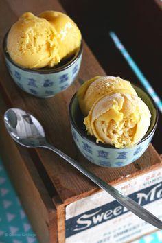 Recept voor romig mango ijs met maar vier ingrediënten. (lactosevrij recept)