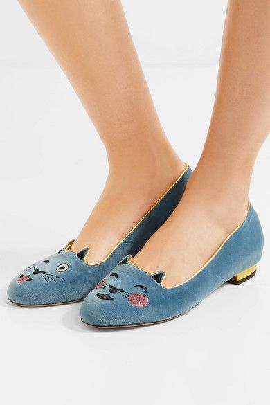 Charlotte Olympia | 'Cheeky Kitty' embroidered elephant gray velvet slippers | NET-A-PORTER.COM