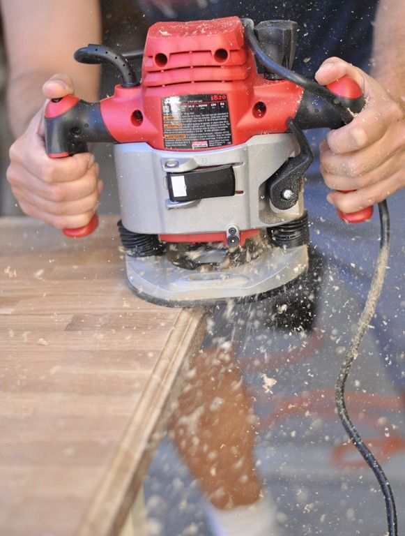 Upgrade a wooden counter or table top using a plunge router with ogee edge bit