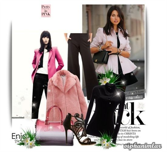 #gününkombini #kombin #bayankombin #moda #fashion #women #womenfashion#style#stylish#still #pink #pembe #black #siyah  Emporio Armani siyah bluz Whistles pinktaklit kürk kısa ceket Sidepantolon Tabitha Simmons uet Sandalet Furla studded el çantası