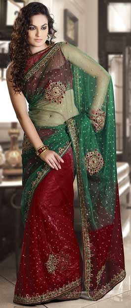 #Green and #Maroon Net #Saree #With Blouse @ $99.62 | Shop Here: http://www.utsavfashion.com/store/sarees-large.aspx?icode=sam6 #netsaree #snapdeal #India