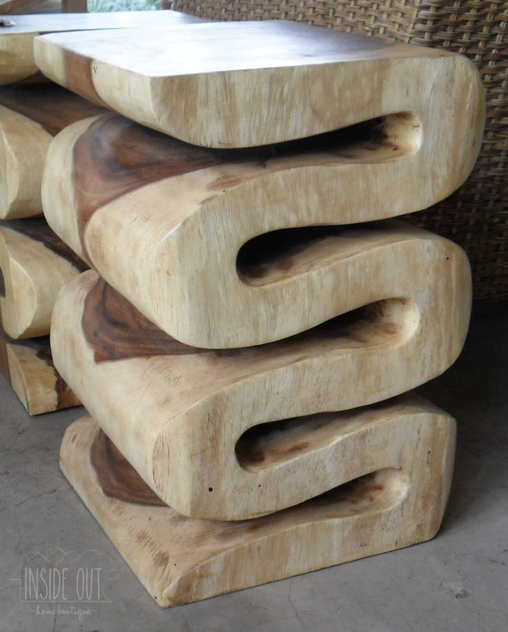 In Stock - Teak Squiggle Stool - Inside Out Home Boutique - Please check stock availability