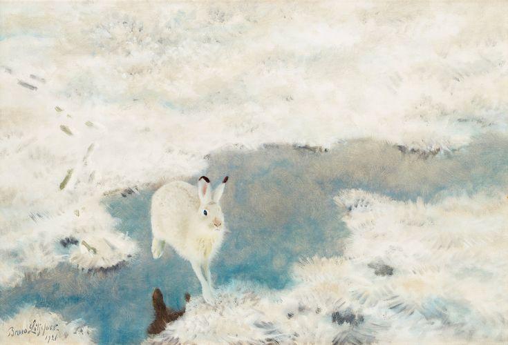 bruno liljefors - oil on canvas - hare in winter landscape (1921)