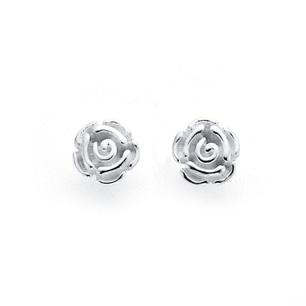 Sterling Silver Rose Studs | Earrings | Prouds The Jewellers