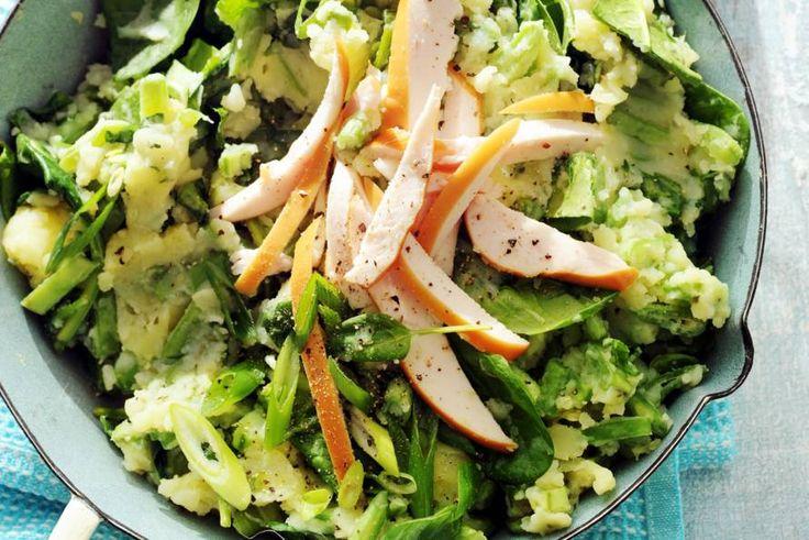 Lentestamp van spinazie en gerookte kip - Recept - Allerhande