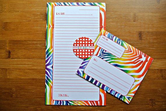 Rainbow Zebra Print Fold and Seal Tween Camp Stationery, $16.00