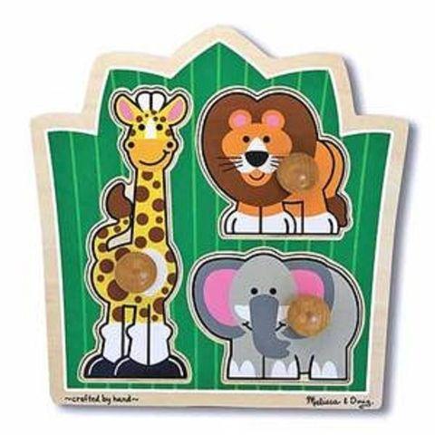 Jungle Animal Friends 3 Piece Knob Puzzle by Melissa and Doug - Available at Kids Mega Mart Online Shop Australia