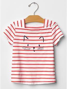 """Embroidered square-neck graphic tee with cat """"it's meow or never"""" at gap kids"""