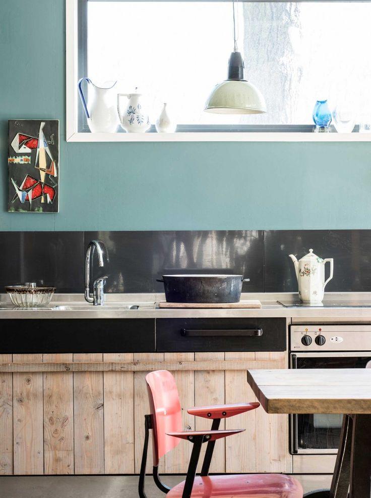 keuken-blauw-zwart-hout