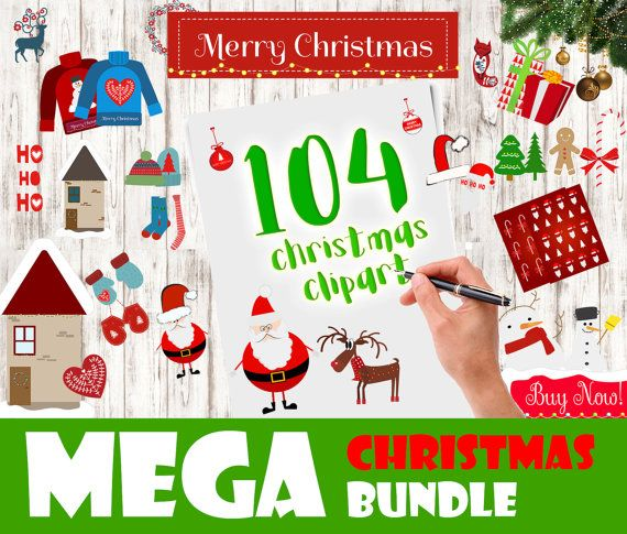 CHRISTMAS MEGA BUNDLE 104 Christmas Clipart Elements - Xmas Ornaments Christmas Graphic Holiday Clip Art Ugly Sweaters Christmas Socks