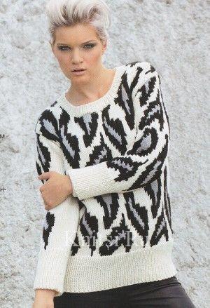 Пуловер с леопардовым узором