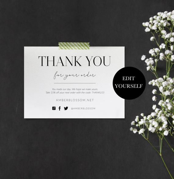 Printable Thank You For Your Order Inserts Custom Business Thank You Insert Cards Thank You Packaging Insert Customer Thank You Note 103 003 Customer Thank You Note Business Thank You Business Thank