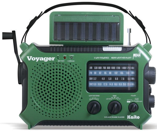 Voyager Emergency Radio- FAMILY STOREHOUSE Cranking Power: 120 turns per minute of cranking will power the built in Ni-MH battery pack with strong current and voltage.  Solar Panel Power: Under the direct sunlight, the solar panel will power the radio without a problem. AA Batteries: You can use 3 normal AA batteries to run the radio for maximum reception. A built-in Rechargeable battery pack.  AC adaptor charge from the 3.5 mm jack. (Optional)