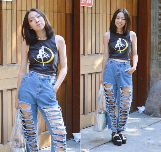 Yona L - Sailor Moon Crop Tank Top, Stylewe Distressed High Waist Ripped Boyfriend Jeans, Ebay Holographic Tote Bag, H&M Black Platform Sandals Slingback - Sailor Moon Top (w Gamiss)